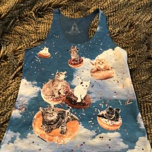 Cats Surfing On Donuts Tank Top